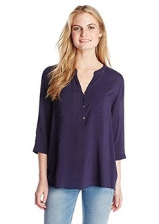 DKNY Jeans Women's Solid Rayon Challis Henley