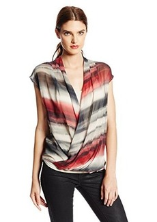 DKNY Jeans Women's Tiki Stripe Wrap Blouse