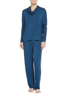Liquid Jersey Cowl-Neck Pajama Set, Blue   Liquid Jersey Cowl-Neck Pajama Set, Blue