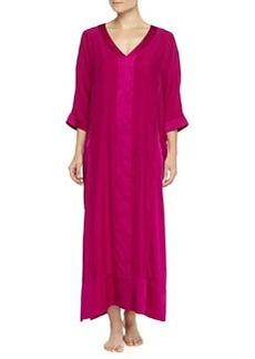 Long Glamour Silk Caftan, Fuchsia   Long Glamour Silk Caftan, Fuchsia