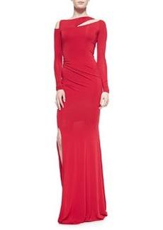 Long-Sleeve Cold-Shoulder Slash Gown, Real Red   Long-Sleeve Cold-Shoulder Slash Gown, Real Red
