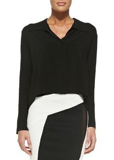 Long-Sleeve Cropped Silk Blouse   Long-Sleeve Cropped Silk Blouse