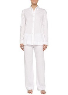 Pima Cotton Pajama Set, White   Pima Cotton Pajama Set, White