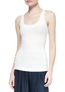 Seamed Scoop-Neck Tank Top, Ivory   Seamed Scoop-Neck Tank Top, Ivory