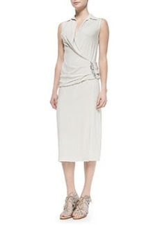Sleeveless Back-Drape Dress, Chalk   Sleeveless Back-Drape Dress, Chalk