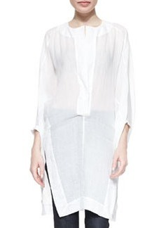 Three-Quarter Full-Sleeve Tunic, White   Three-Quarter Full-Sleeve Tunic, White