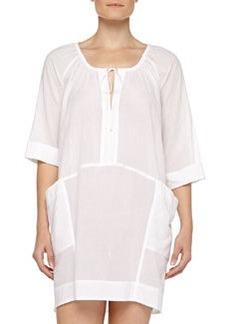 Tie-Front Cotton Batiste Sleepshirt, White   Tie-Front Cotton Batiste Sleepshirt, White