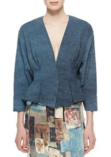 Tuck-Pleated Peplum Jacket, Faded Indigo   Tuck-Pleated Peplum Jacket, Faded Indigo