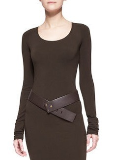 Wide Leather Hook Belt, Brown   Wide Leather Hook Belt, Brown