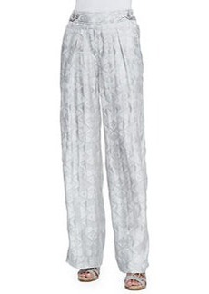 Wide-Leg Pants with Side Buttons   Wide-Leg Pants with Side Buttons