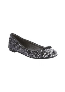 Dolce & Gabbana black and silver sequin bow detail ballet flats