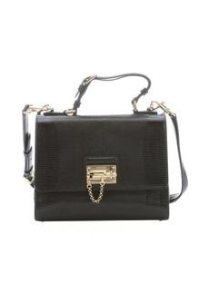 Dolce & Gabbana black iguana embossed leather 'Monica' top handle bag