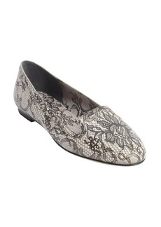 Dolce & Gabbana black printed lace leather smoking flats