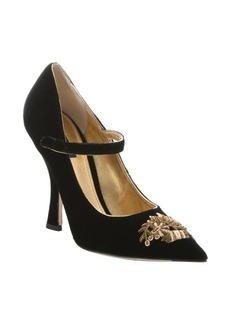 Dolce & Gabbana black velvet embroidered pointed toe mary jane pumps