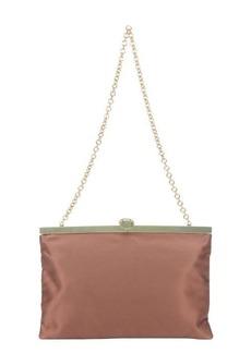 Dolce & Gabbana brown silk and metal frame chainlink shoulder bag