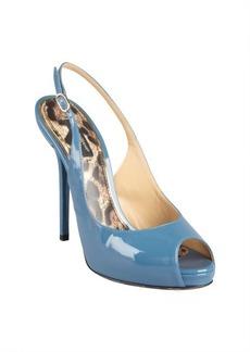 Dolce & Gabbana cadet blue patent leather peep toe platforms