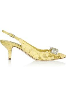 Dolce & Gabbana Crystal-embellished lace slingback pumps