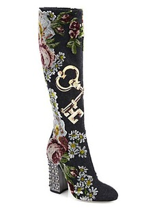 Dolce & Gabbana Embroidered Knee-High Boots
