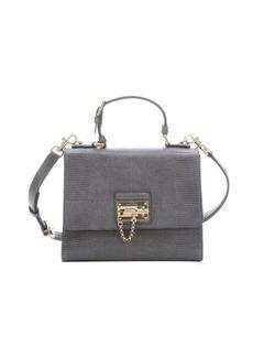 Dolce & Gabbana grey iguana embossed leather 'Monica' top handle bag