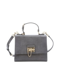 Dolce & Gabbana grey iguana embossed leather 'Monica' top handle bag