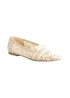 Dolce & Gabbana ivory and nude mesh crocheted 'Ballerina Pizzo' flats