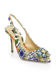 Dolce & Gabbana Jeweled Brocade Slingback Pumps