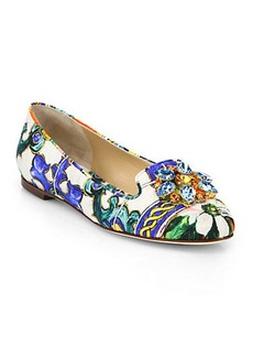 Dolce & Gabbana Jeweled Brocade Smoking Slippers