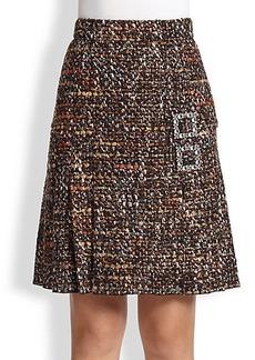 Dolce & Gabbana Jeweled-Buckle Tweed Skirt