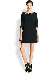 Dolce & Gabbana Jeweled Cady Shift Dress