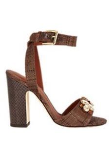 Dolce & Gabbana Jeweled Raffia Ankle-Strap Sandals