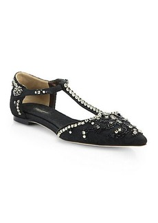 Dolce & Gabbana Jeweled T-Strap Brocade Flats