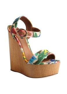 Dolce & Gabbana khaki floral dyed canvas platform wooden wedge sandals