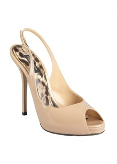 Dolce & Gabbana khaki patent leather peep toe platforms