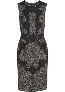 Dolce & Gabbana Lace-appliqué wool-blend tweed dress