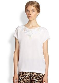 Dolce & Gabbana Lace-Trimmed Silk Shirt