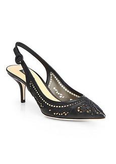 Dolce & Gabbana Leather & Lace Cutout Slingback Pumps