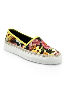 Dolce & Gabbana Leather & Raffia-Trimmed Floral-Print Canvas Sneakers