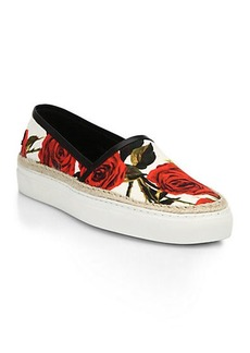 Dolce & Gabbana Leather & Raffia-Trimmed Rose-Print Canvas Sneakers