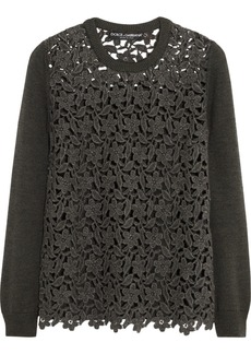 Dolce & Gabbana Macramé-paneled wool-blend sweater