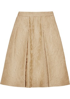 Dolce & Gabbana Pleated cotton and silk-blend jacquard skirt
