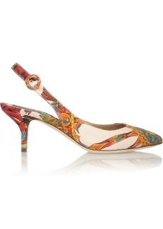 Dolce & Gabbana Printed brocade slingback pumps