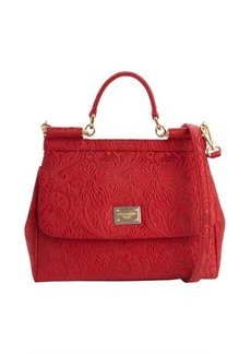 Dolce & Gabbana red embroidered canvas structured satchel