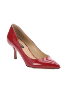 Dolce & Gabbana red leather pointed toe kitten heel pumps