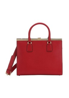 Dolce & Gabbana red leather structured convertible top handle bag