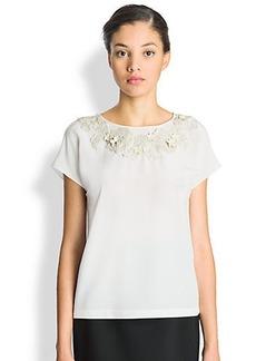 Dolce & Gabbana Silk Floral-Applique Blouse