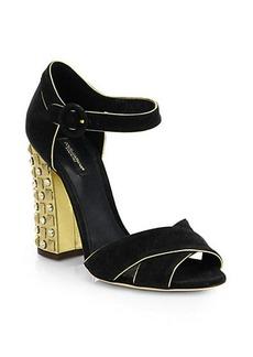 Dolce & Gabbana Suede Crisscross Studded-Heel Sandals