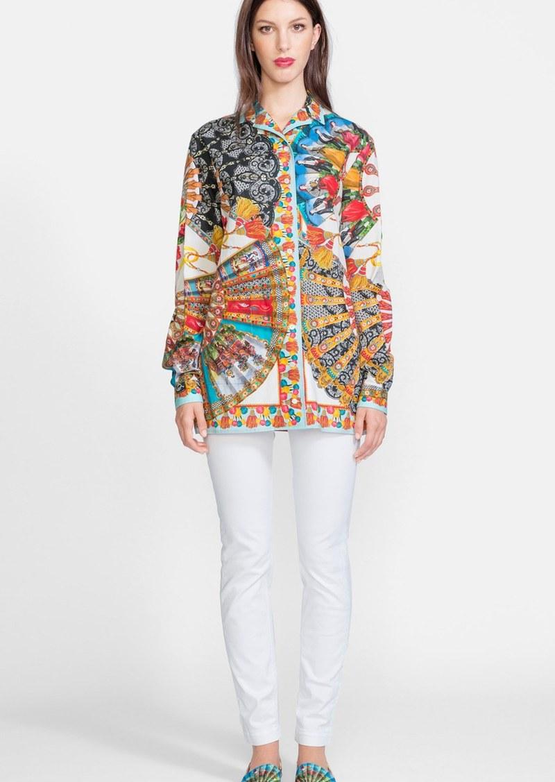Dolce Gabbana Dolce Gabbana Fan Print Cotton Blouse