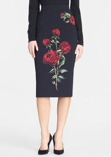 Dolce&Gabbana Rose Print Double Crepe Pencil Skirt