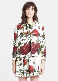 Dolce&Gabbana Rose Print Short Brocade Jacket