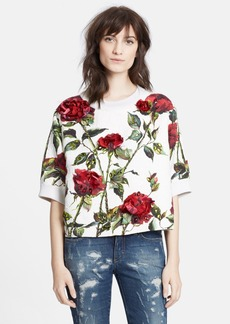 Dolce&Gabbana Rose Print Short Sleeve Brocade Sweatshirt